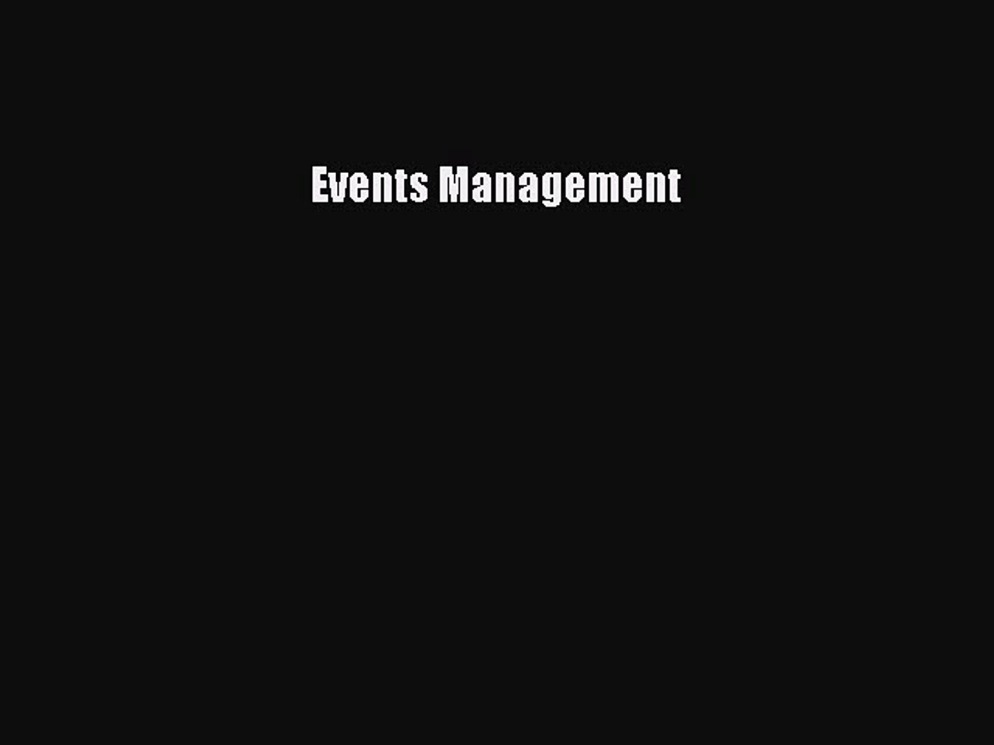 Events Management  Free Books