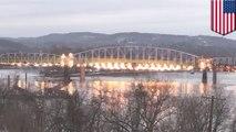 米国1908年建設の橋を爆破解体