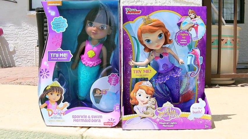 Mermaids Underwater! Dora Sparkle + Swim Mermaid Sofia The First Magical Lights Mermaid Po