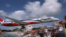 St Maarten island video shows plane flying just above tourists' heads