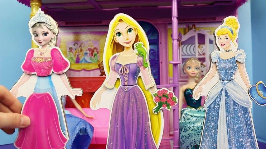 Disney Rapunzel Magnet Dress Up with Frozen Elsa Magnet Doll and Cinderella Magnet Doll