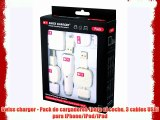 Swiss charger - Pack de cargadores (para el coche 3 cables USB) para iPhone/iPod/iPad