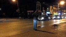 Un raton laveur pleure son ami mort sur une route