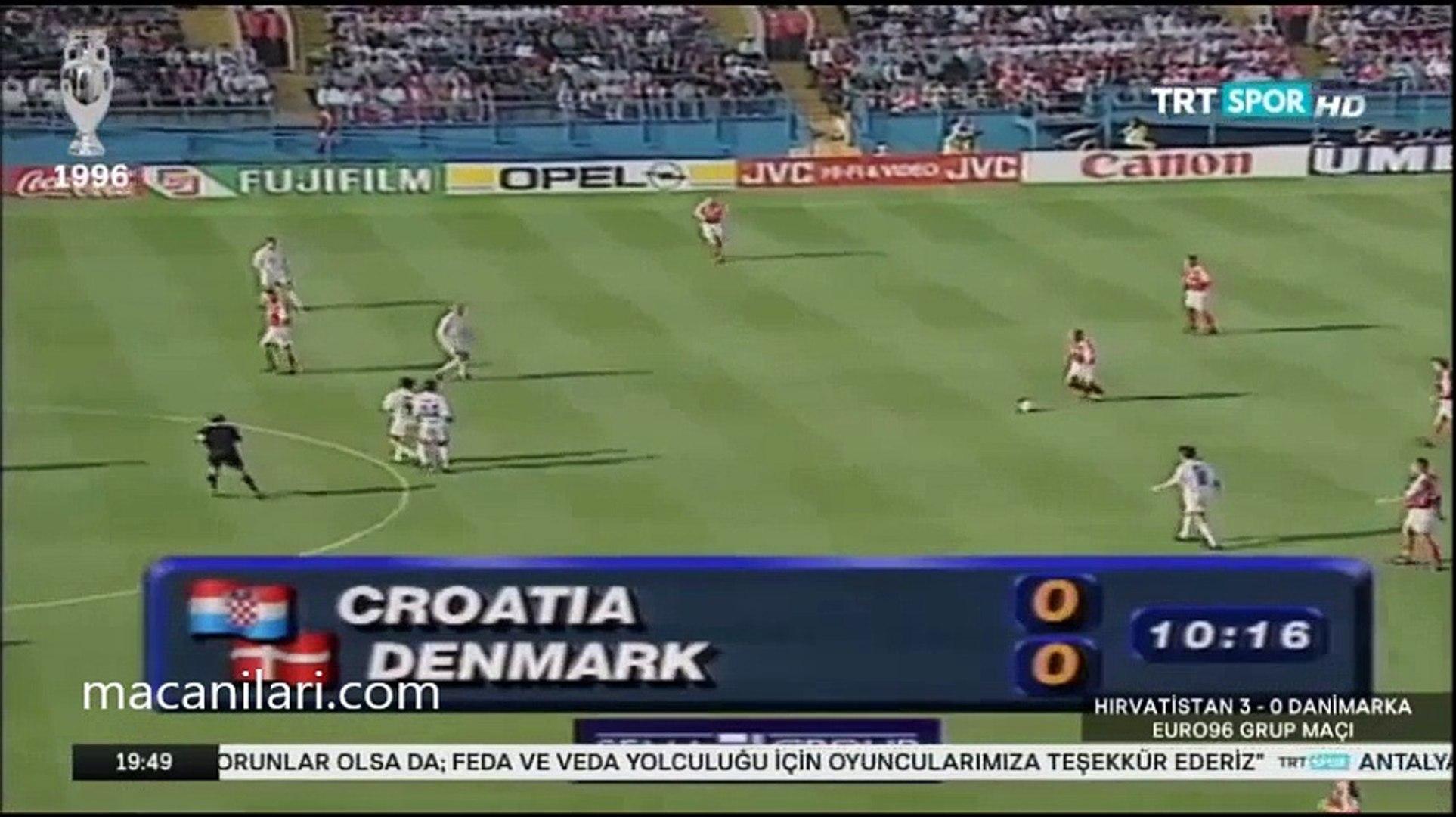 16 06 1996 - UEFA EURO 1996 Group D Matchday 2 Croatia 3-0 Denmark - 1996  Avrupa Futbol Şampiyonası Hırvatistan 3-0 Danimarka