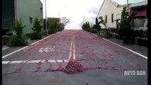 The road is littered with firecrackers MEGA Street full of FIREWORKS firecrackers || AVTO BAN