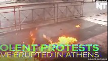 Thousands of protesters clash with police after peaceful protests turn violent in Greece