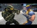 Halo Master Chief vs Wolverine - EPIC BATTLE - Grand theft Auto