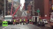 Une grue géante s'écroule en plein centre-ville de New York (filmée par l'app Ruptly stringer)