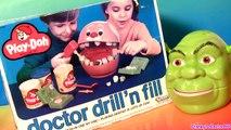 Play Doh Doctor Drill n Fill Dentist Shrek Rotten Root Canal Dentista Vintage Play Dough