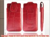 Suncase - Funda de cuero para Sony Xperia ZL / ZL LTE color rojo