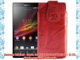 Suncase Original - Funda de piel para Sony Xperia ZL / ZL LTE diseño arrugado color rojo