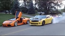 Camaro does burnout past Audi R8, Ferrari, Porsche, Mercedes SLS and Lamborghini Murcielag