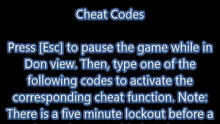 The Godfather 2 Cheats, Cheat Codes for PC