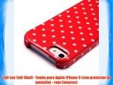 Tuff-Luv Tuff-Shell - Funda para Apple iPhone 5 (con protector de pantalla) - rojo (lunares)
