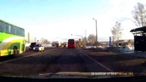 Russian guy crashes his car while phoning