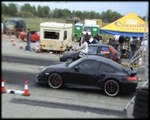 Porsche 997 Techart Turbo Vs. Ford Fiesta RS Turbo Drag Race