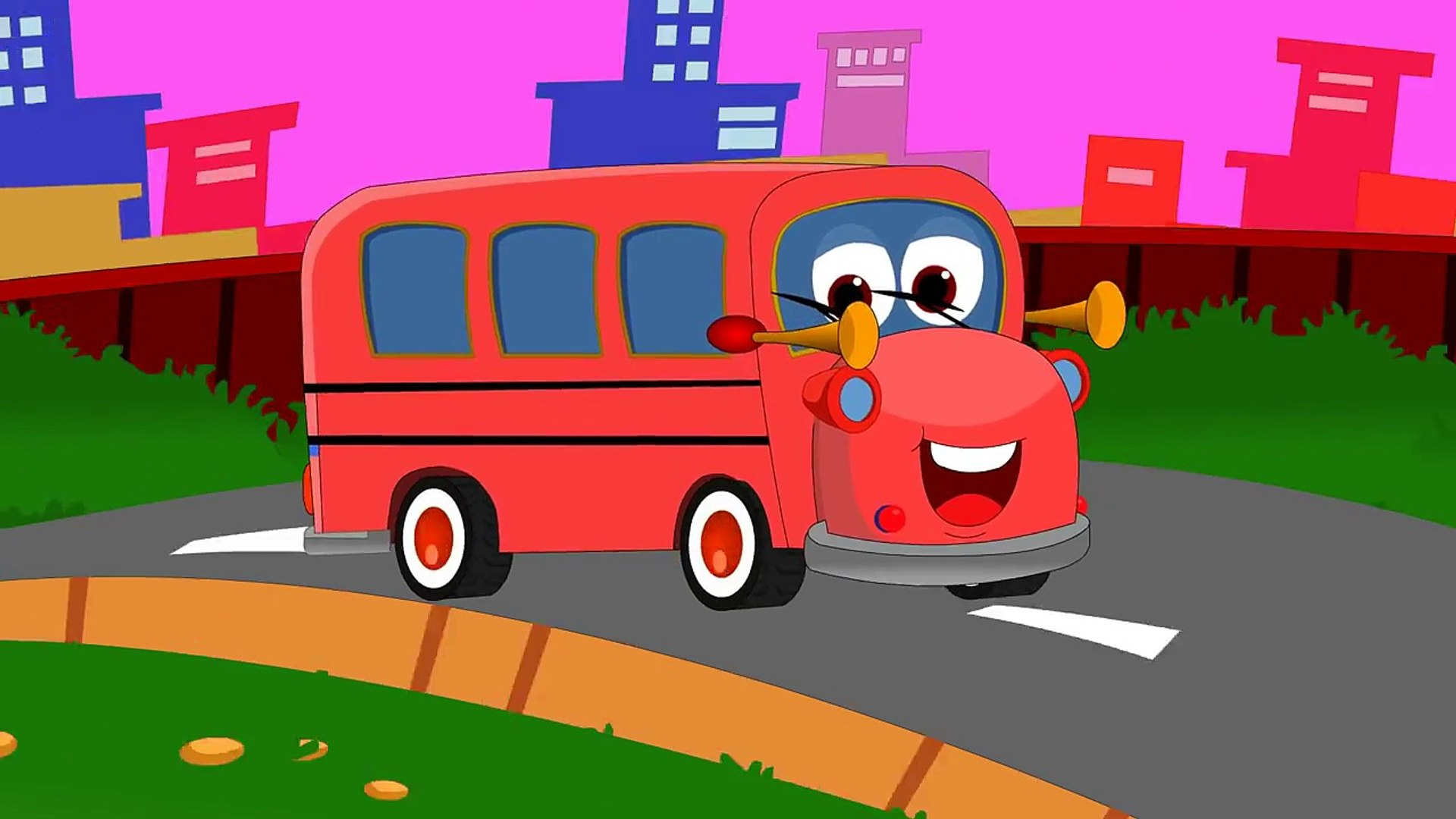 Wheels On The Bus English Nursery Rhyme For Children Red Bus With Lyrics Hd Dailymotion Video