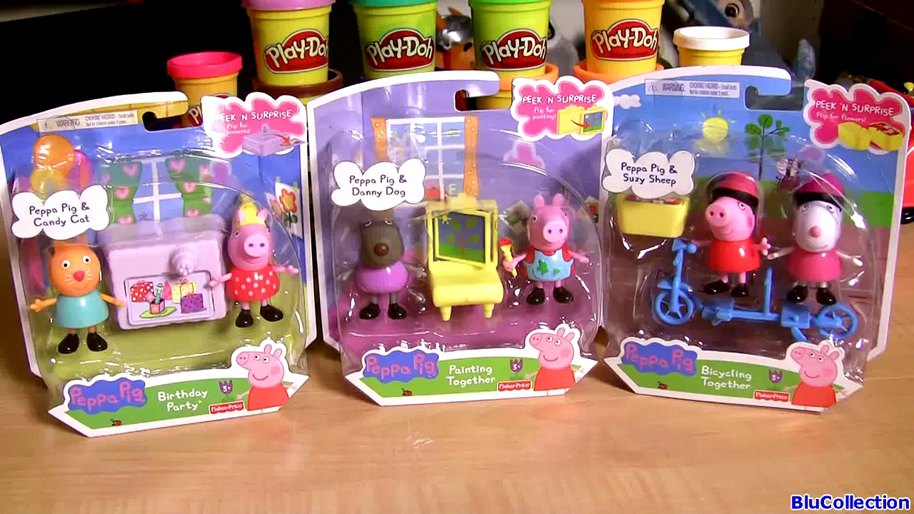 Play Doh Peppa Pig Birthday Cake Party, Bicycling Painting Together by Blu Toys Surprise juegos