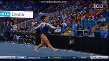 Une gymnaste réalise des pas de hip-hop pendant une compétition