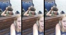 Elle fait un selfie vidéo pendant que deux hommes ivres se battent
