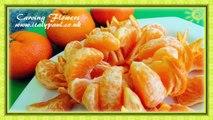 Art In Mandarin Orange Flower - Fruit Carving _ Clementine Sunflower Garnish _ Fruit Decoration