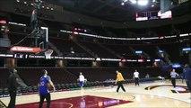 Steve Kerr Nails Underhanded Half Court Shot   Golden State Warriors vs Cleveland Cavalier