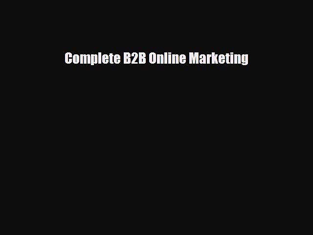 Download Complete B2B Online Marketing Ebook