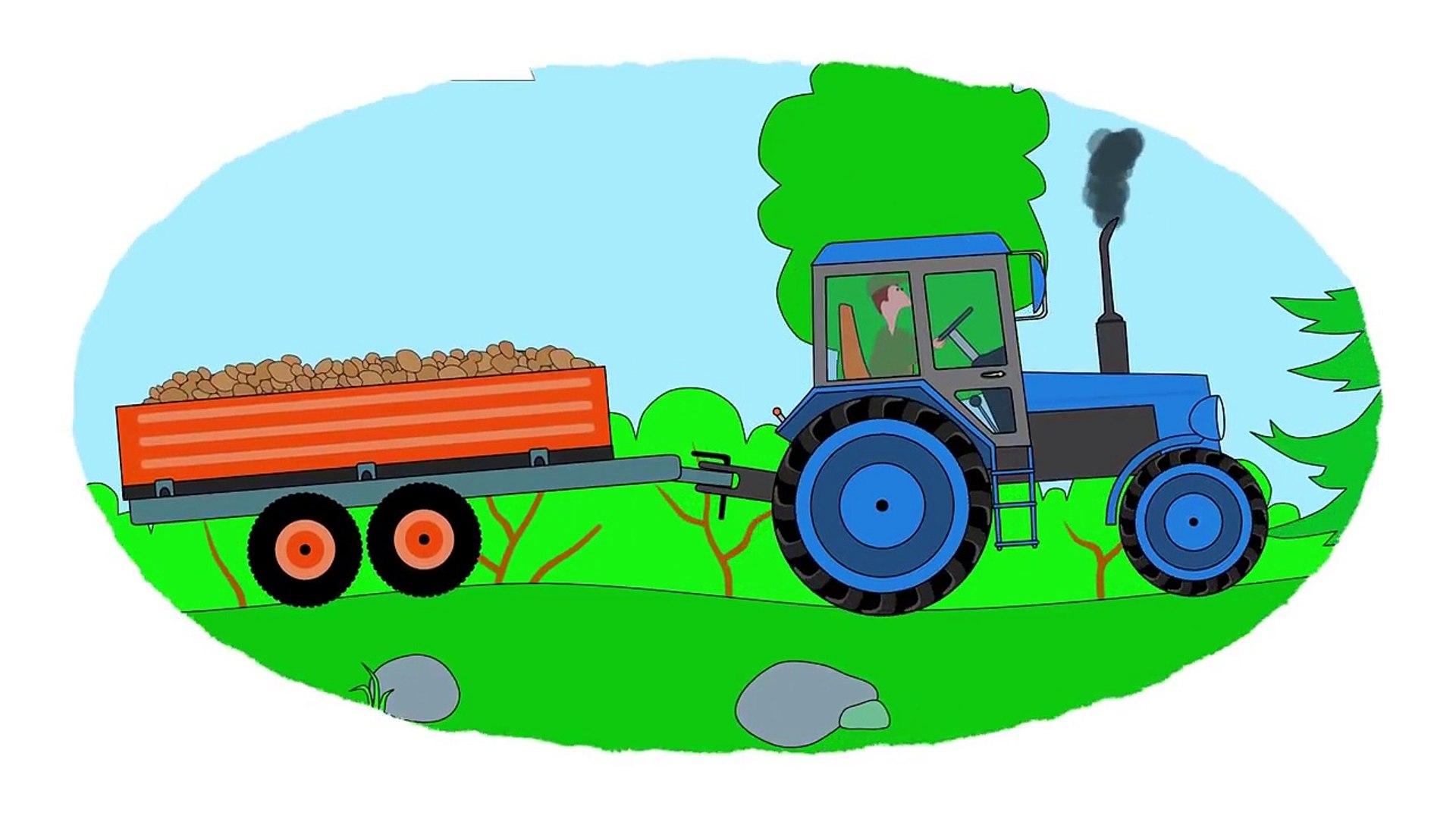 Zeichentrick Malbuch Farben Lernen Autos Traktoren Teil1