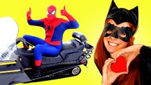 Spiderman vs Catwoman vs Batman in Real Life! Catwoman Kidnaps Batman -  Fun Superhero Movie _) (1080p)