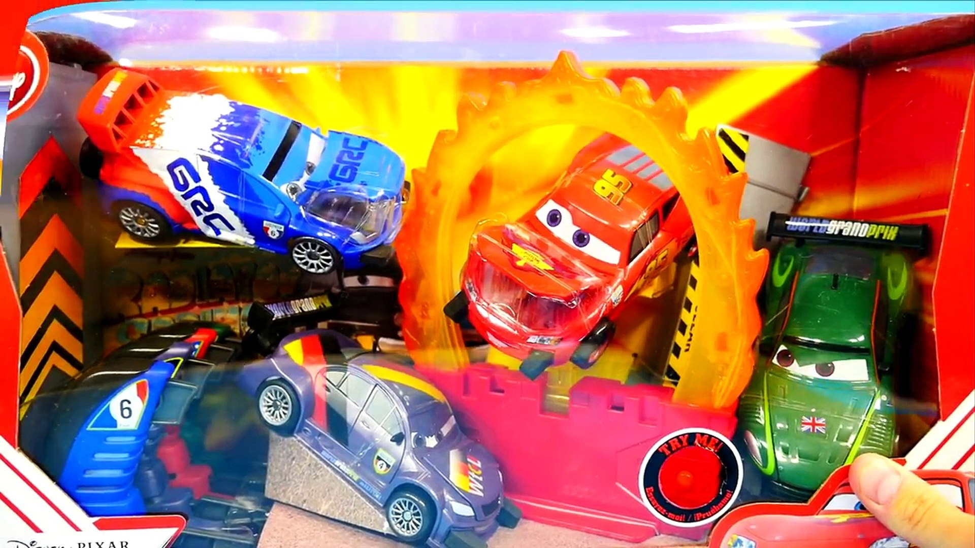 Cars 2 Ring Of Fire Stunt Lightning Mcqueen Crashing Disney Pixar Launching Car Toys Dailymotion Video