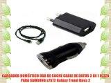 CARGADOR DOMÉSTICO USB DE COCHE CABLE DE DATOS 3 EN 1 OZZZO PARA SAMSUNG s7572 Galaxy Trend