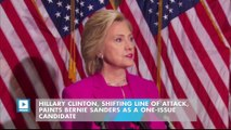 Hillary Clinton, Shifting Line of Attack, Paints Bernie Sanders as a One-Issue Candidate
