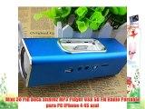 Mini 30 Pin Dock altavoz MP3 Player USB SD FM Radio Portable para PC iPhone 4 4S azul