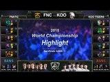 [게임코치] 2015 롤드컵 준결승 하이라이트 KOO vs FNC #01 (LoL World Championship 2015 Semi Final Highlight)