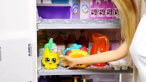 Barbies Shopkins Fridge Fun Barbie Doll Kitchen with Shopkins Fruits & Vegetables