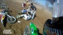 Course moto cross Crash sur GoPro