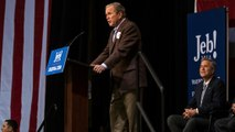 George W. Bush campaigns for brother, cracks jokes
