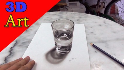 How to Draw a Glass of Water/ 3D painting anamorphic illusion (dibujar bien paso a paso)