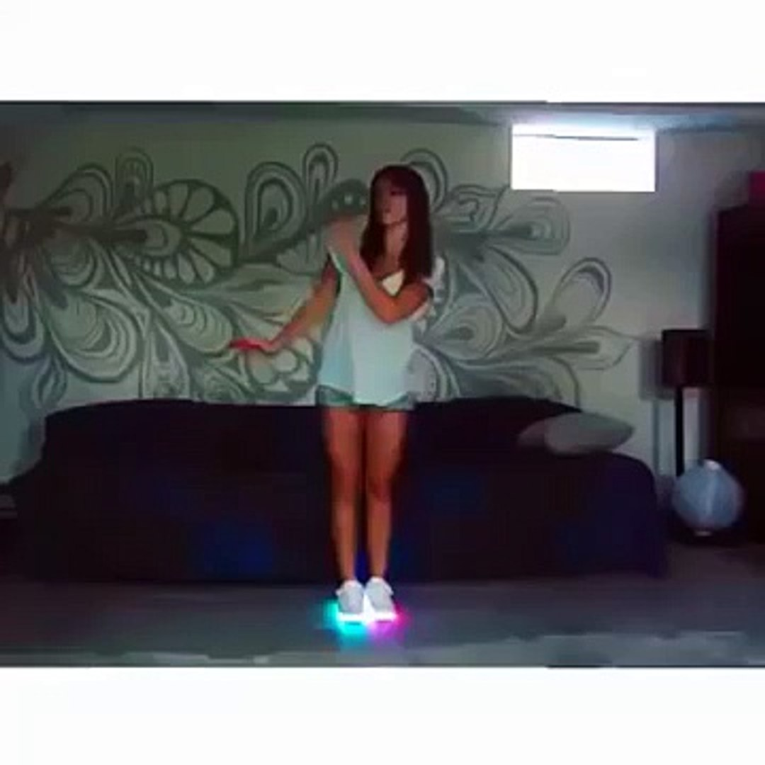 Beautiful Girl Dance in the Room with Beautiful Lighting Shoes