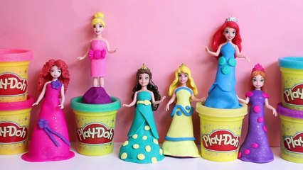 Disney Princess MagiClip Collection Play-Doh Magic Clip Frozen Anna Ariel Merida Belle Dolls