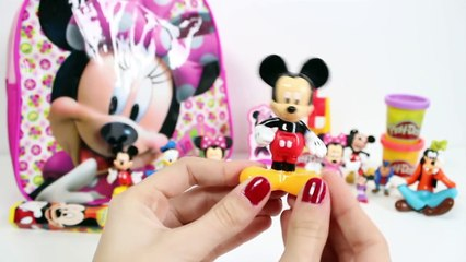 Minnie Mouse Surprise Backpack Disney Toys Mickey Mouse Surprise Eggs Play Dough Toy Videos