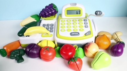 Cash Register with Toy Cutting Fruits and Vegetables Just Like Home Toy Food Cooking Playset