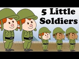 Five Little Soldiers | Cartoon Nursery Rhymes Songs For Children