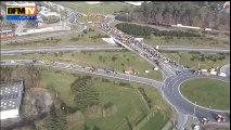 Images aériennes de la rocade de Rennes bloquée par des agriculteurs