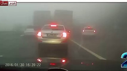 LiveLeak - Massive pile up caused by fog in Slovenia -