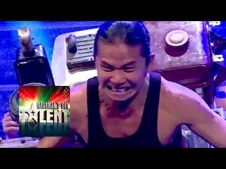 Myanmar Superman Lifts & Carries a Motorbike With His Hair! Myanmar's Got Talent 2015 Final