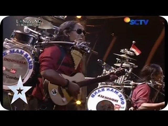 "One Man Band Sings ""Bongkar"" from Iwan Fals - Yon Gondrong - SEMIFINAL 5 - Indonesia's Got Talent"