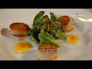Hell's Kitchen at Home #1 - Pan Seared Scallops & Sunny Quail Eggs with Petite Salad by Chef Juna