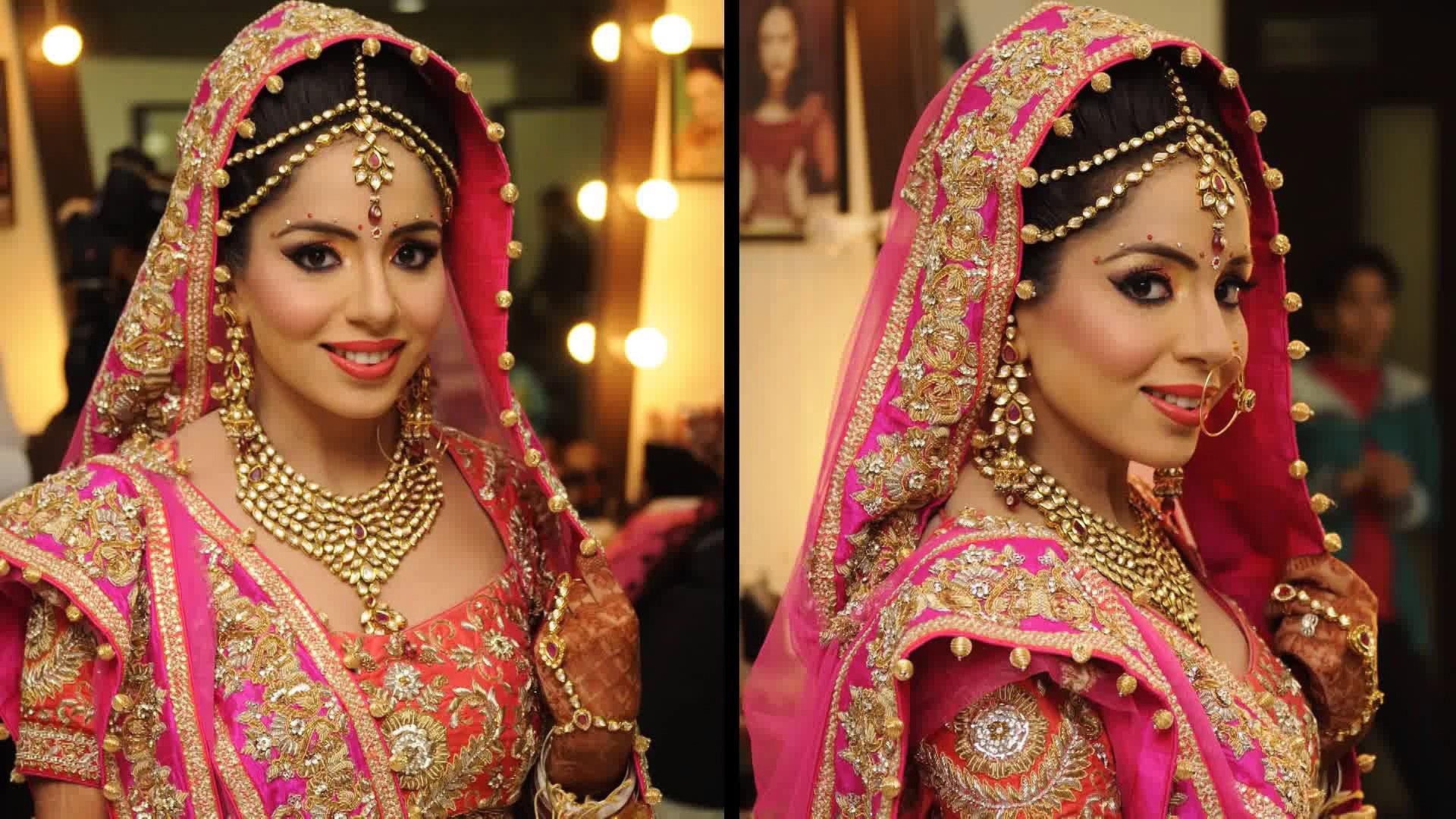 Traditional Bridal Makeup With Peach and Pink-Pakistani Bridal Makeup 2016