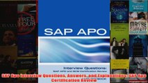 Download PDF  SAP Apo Interview Questions Answers and Explanations SAP Apo Certification Review FULL FREE